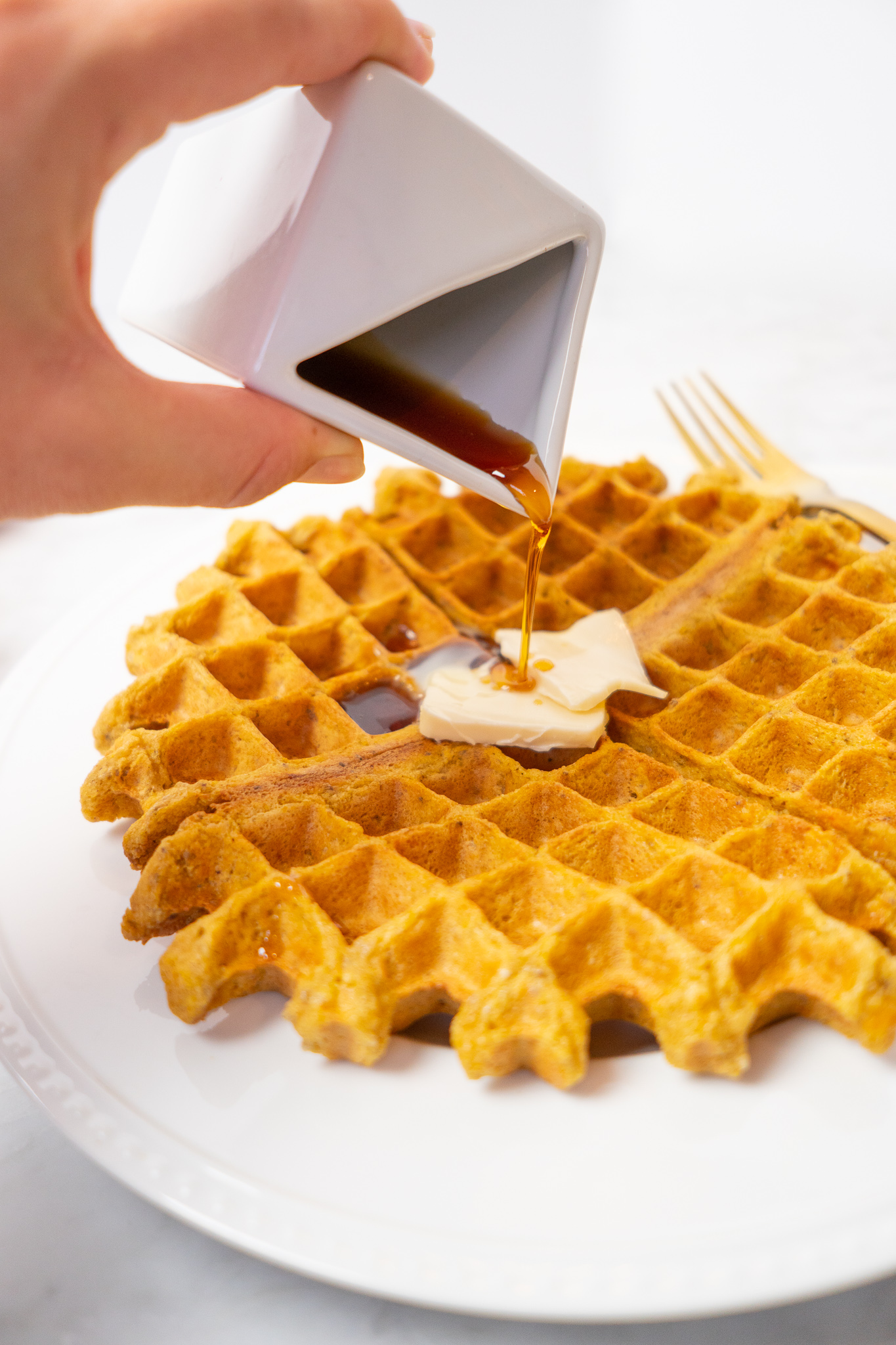 vegan gluten free waffle with sweet potato
